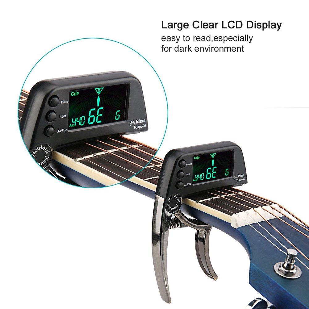 Cejilla afinadora de guitarra eléctrica 2 en 1 con pantalla LCD, afinador de cebo profesional apto para guitarra acústica o folk, banjo, ukelele, ...