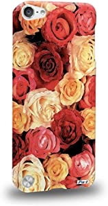 Pin-1 [Apple iPod Touch 5] 3D Printed Snap-on Hard Case & Warranty Card - Art Design Red and Champagne Rose 1400