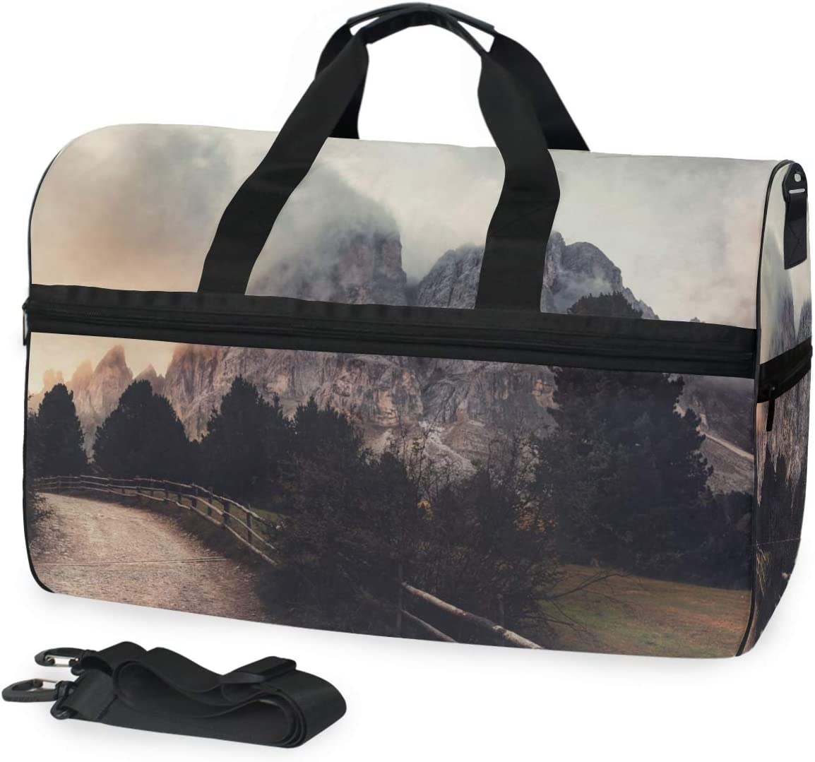 TFONE Scenery Pattern Duffel Bag Sports Gym Weekend Bags with Shoe Compartmen