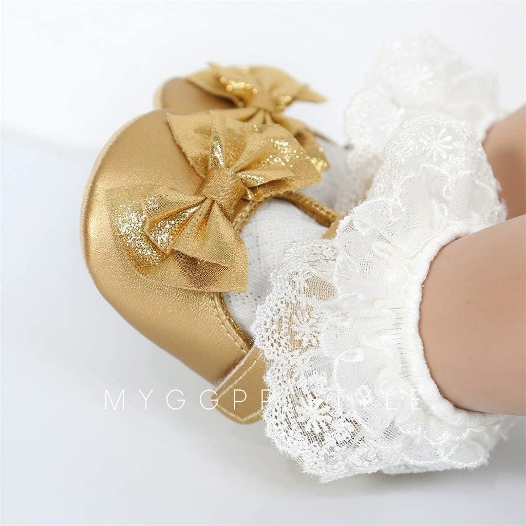 Baby Girls Shoes Soft Sole Prewalker Mary Jane Princess Party Dress Crib Shoes Bow Knot Toddler Anti-Slip Soft Baby Shoes for 0~18 Month