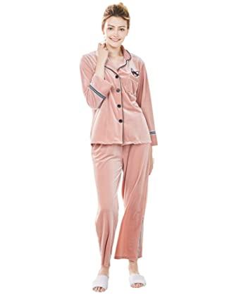d4c94a69d48 TieNew Ladies Long Sleeve Womens 100% Velvet Pyjamas Nightwear
