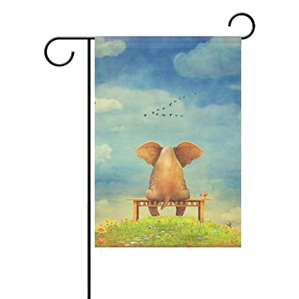 Amazon.com : Aideess Sad Elephant Sitting On Bench Garden Flag ...