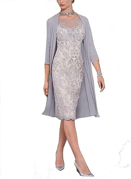 dressvip Rosa encaje medio mangas por debajo de la rodilla vestido de fiesta de longitud con el abrigo de gasa: Amazon.es: Ropa y accesorios