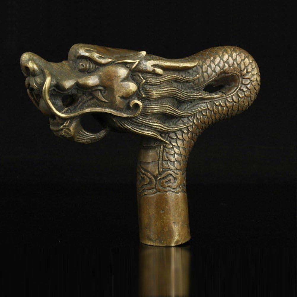 Old bronze handwork carved dog statue walking stick cane head