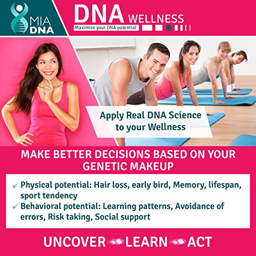Home DNA Test Kit for Wellness - MiaDNA's State of The Art and Affordable Personal Genetic Test I The Latest Genetic Research Related to Your Physical & Behavioral predispositions