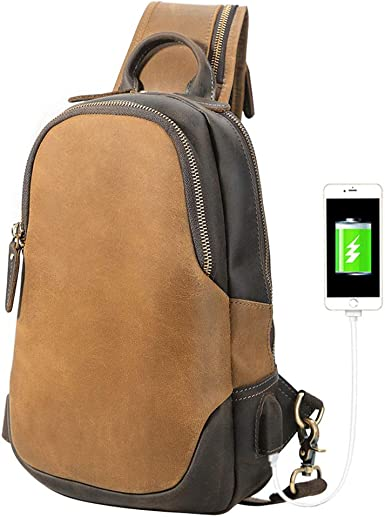 Genuine Leather Sling Bag For Men Women Sling Backpack With Charging Port Crossb