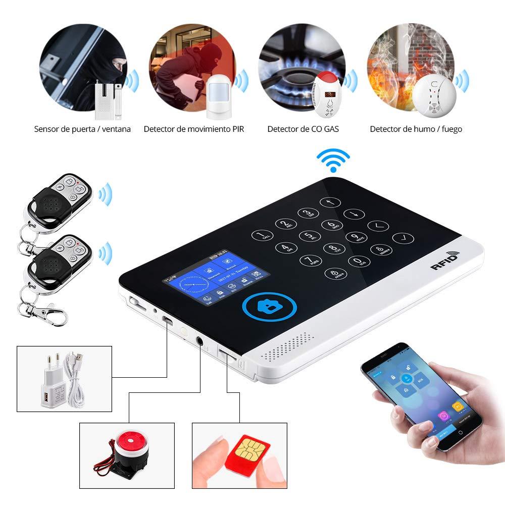 Fuers WG11 WiFi/gsm Sistema de Alarma para Casa Control por App/SMS Kit de Sistema de Alarma para el Hogar DIY con Tarjeta RFID, Marcación Automática SIM, ...
