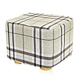 4 Foot Square Ottoman DL furniture - Square Ottoman Foot Stool, 4 Leg Stands, Short Leg, Square Shape | Linen Fabric, Striped Cover