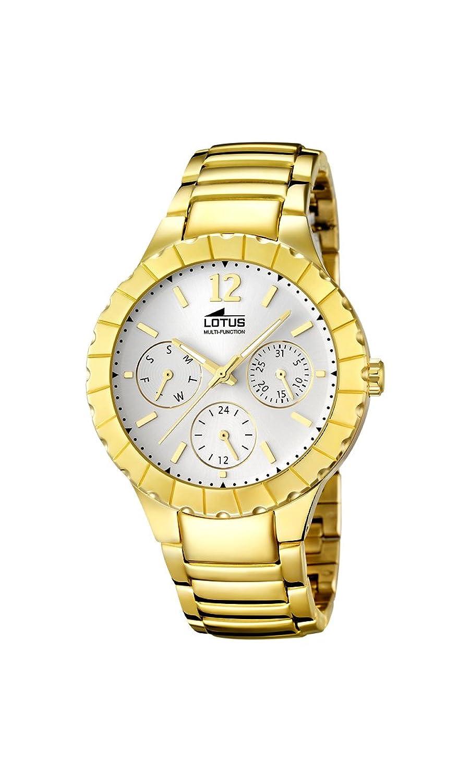 d8df7729de07 Lotus Reloj de cuarzo para mujer con plata esfera analógica pantalla y  pulsera chapado en oro de acero inoxidable 15903 1