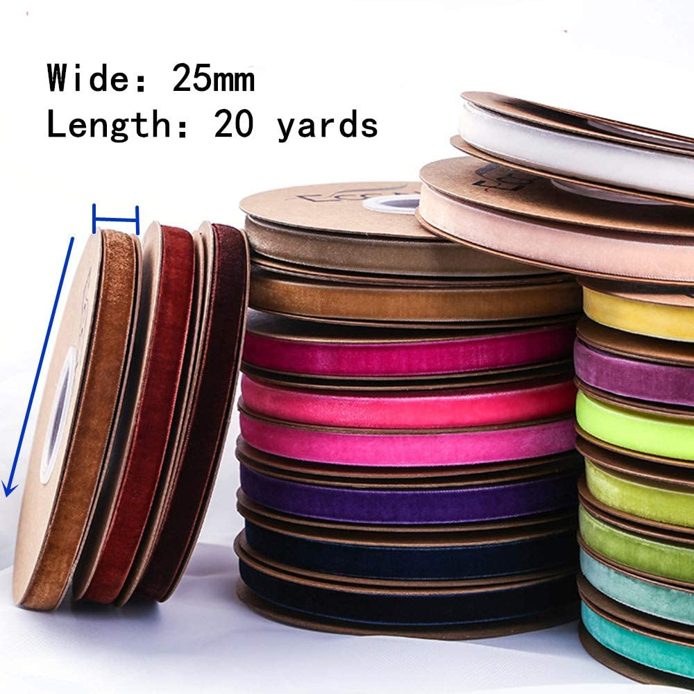 Ribbon for Crafts Navy, 10mm Wholesale Bulk 20 Yard 3//8 5//8 1Inch Velvet Ribbon for Gift Package Wrapping Floral Design Hair Bow Clip Accessory Making Sewing Wedding Decor