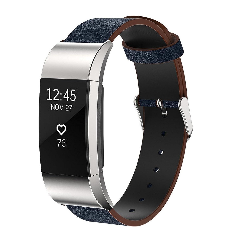 rukiwa交換用高級本革バンドストラップブレスレットfor Fitbit Charge 2  B01MF4TE4S