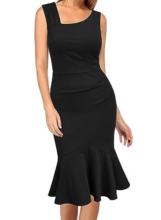 Woosea Womens Elegant Vintage Sleeveless Slim Mermaid Midi Mid Calf