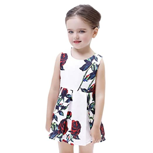 3853ae26915fe Moonker Girl Dresses,Toddler Infant Baby Girls Clothes Rose Sleveeless  Princess Mini Dress (White