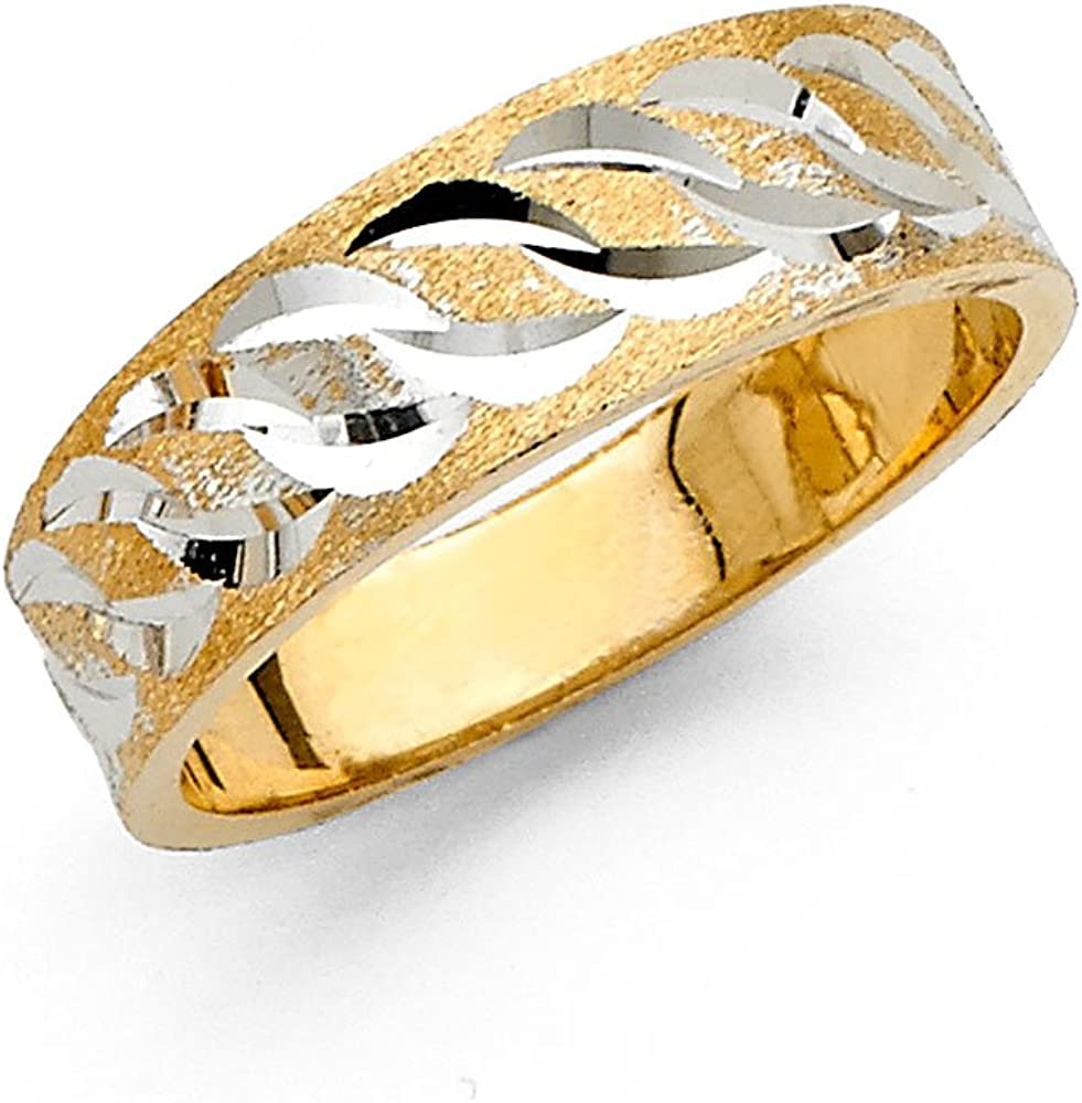 14k Solid Yellow Gold 6MM Tapered Men/'s Wedding Band Ring