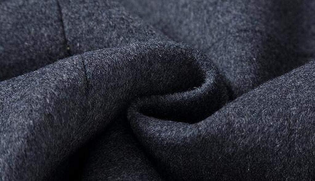 Jotebriyo Mens Fall Winter Sherpa Lined Single Breasted Trench Pea Coat Jacket Overcoat