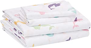 AmazonBasics Kids Magical Mermaids Soft, Easy-Wash Microfiber Sheet Set - Full, Multi-Color Mermaids