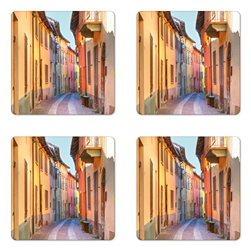 Ambesonne Italy Coaster Set of Four, Narrow Paves Street Among Old Houses in Town Serralunga D'Alba Piedmont, Square Hardboard Gloss Coasters for Drinks, Pale Orange Brown Pink