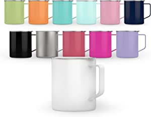 Maars Townie Insulated Coffee Mug, 14 oz | Double Wall Vacuum Sealed Camp Cup | 2 Pack - Fuchsia