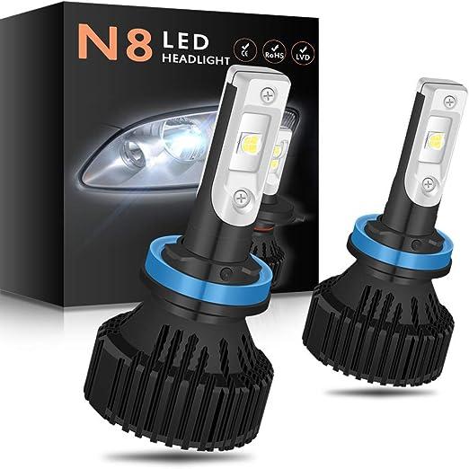 NATGIC 2PCS 880 Headlights Bulbs Car Headlight Kit,30W 10000 Lumens 16 XHP50 Chips Pure White 6500K Bulbs Hi//Lo All-in-one Waterproof Automotive Bulb,DC 9-32V fit 12V Vehicles