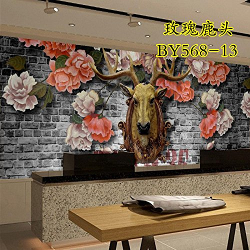 Jedfild Fashion simple furniture succinct mural pattern wallpaper wallpaper wall decoration wallpaper wallpaper bedroom wall cloth, 568-13 rose deer head 2 (Rose 568)