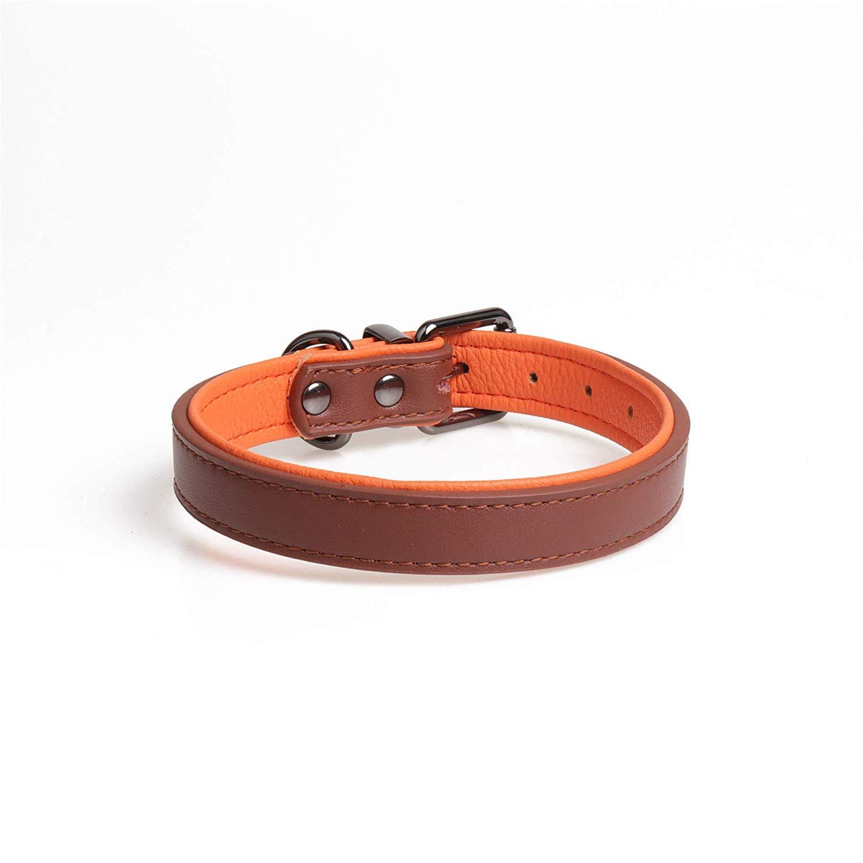 BrownA 2.5×50cm Pet collar Soft collar double leath dog collar pet collar,red,1.5×35cm (color   Light pink 2.0×40cm)