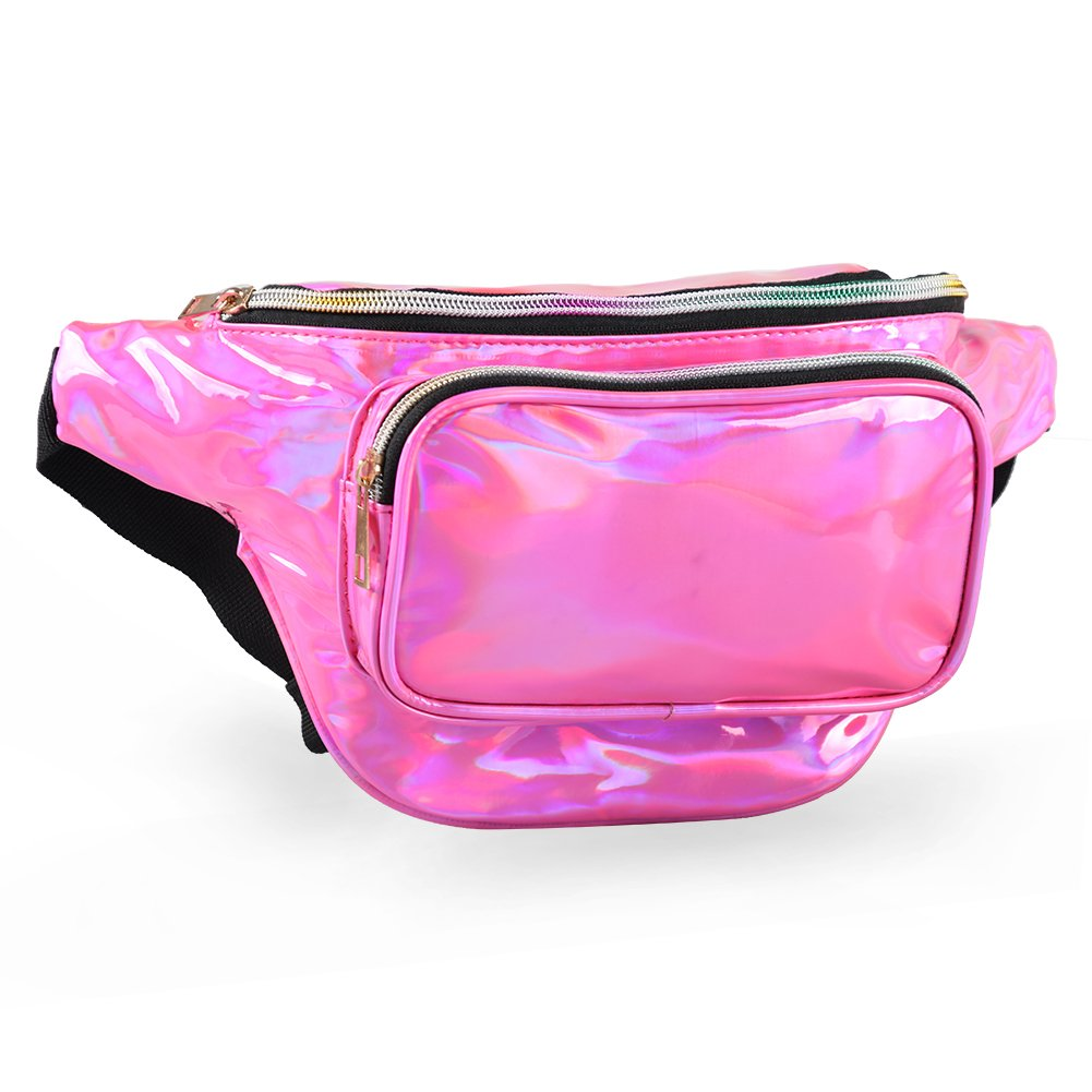 Mum's memory Metallic Hologram Fanny Pack - Outdoor Sport Waist Pack for Running, Hiking, Traveling for Women and Men (Rose Red) by Mum's memory