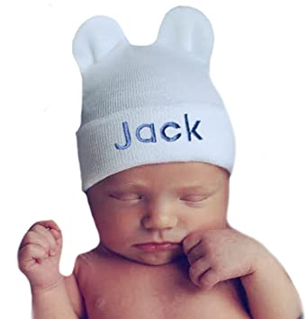 51288acd734f2 Image Unavailable. Image not available for. Color  Melondipity Personalized  White Bear Hospital Hat for Newborn Boys ...