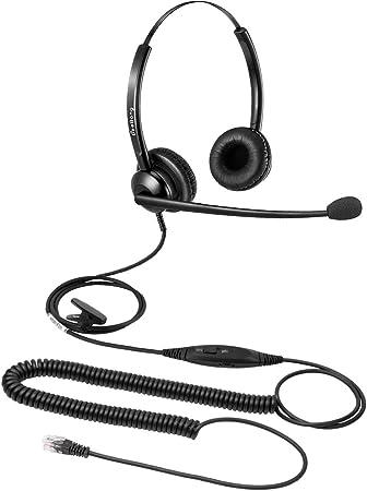 Amazon Com Beebang Office Telephone Headset Rj9 Jack With Pro Noise Canceling Microphone And Mute Switch Controls For Plantronics Jabra Polycom Mitel Nortel Shoretel Aastra Avaya Alcatel Landline Phones Office Products