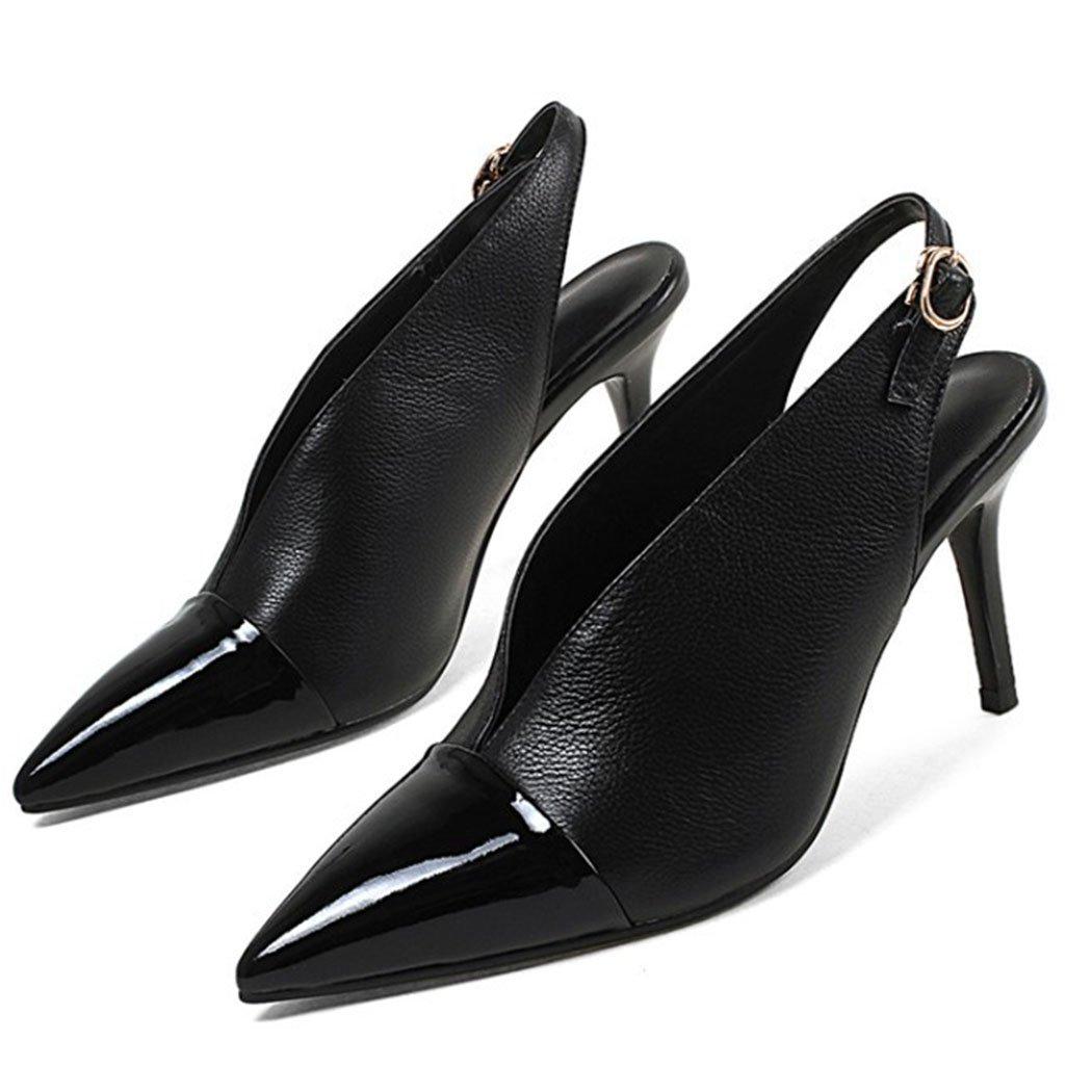 GAOLIXIA Damen Damen Spitz Leder Business Schuhe Knouml;chelriemen Stiletto High-Heels Fashion Court Schuhe Arbeit Casual Party Abend  34 Schwarz
