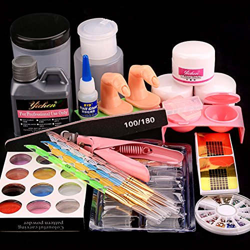 Baisidai Acrylic Liquid Powder Half French Nail Art Tips Pump File Clipper Tools Kit