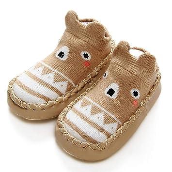 FOONEE Niños Pequeños Mocasines, Zapatillas Antideslizantes Piso Algodón Transpirable Niños Bebés Niños Niñas Zapatos de Interior al Aire Libre Calcetines ...