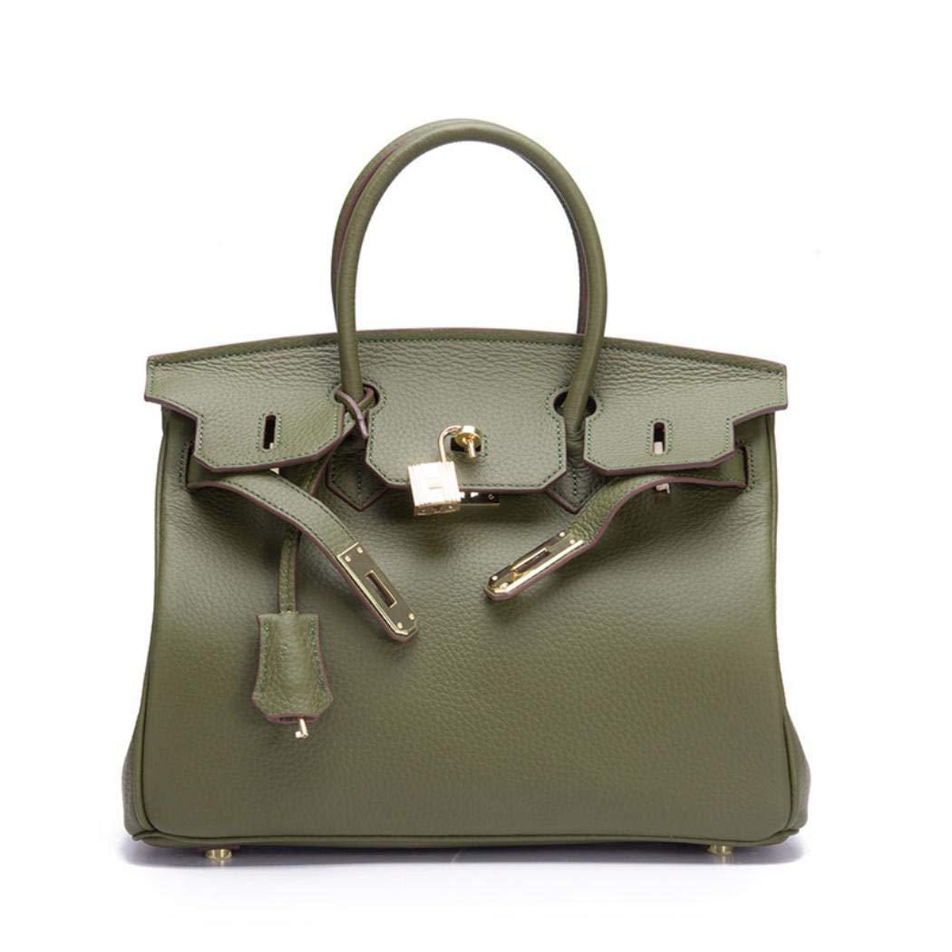 Dark Green Women Luxury Genuine Leather Lock Handbags Messenger Casual Tote Crossbody Bags