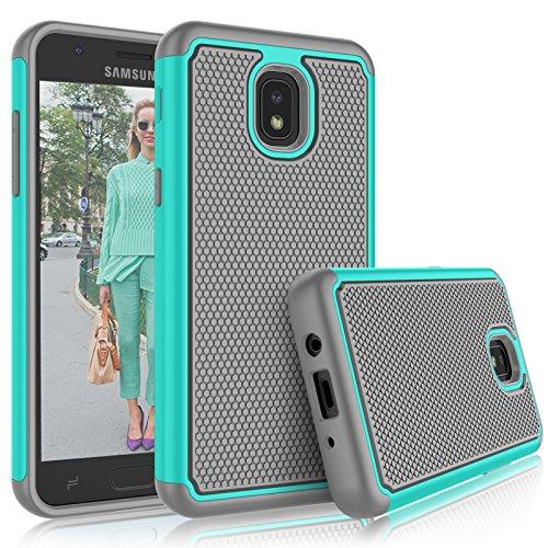 Tekcoo Galaxy J3 2018 Case, Tekcoo Samsung J3 Orbit/J3 Achieve/J3 Express Prime/J3 Prime 2/J3 V 3rd Gen/Amp Prime 3/J3 Eclipse 2/J3 Aura/J3 Star Case, [Tmajor] Cute Sturdy Cover Cases - Turquoise