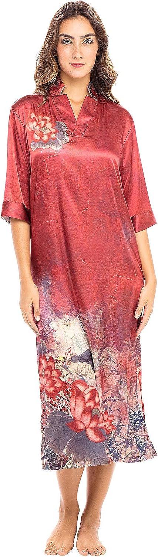 1920s Nightgowns, Pajamas and Robes History Alexander Del Rossa Womens Satin Caftan Sleep Shirt  AT vintagedancer.com