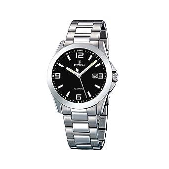 FESTINA F16376/4 - Reloj de caballero de cuarzo, correa de acero inoxidable color plata: Festina: Amazon.es: Relojes