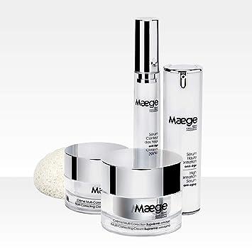 Pack completo para jóvenes Maege: suero antiedad, contorno de ojos antibolsillos, crema antiarrugas día / + crema antiedad nocturna + 1 esponja konjac extracto de seda.: Amazon.es: Belleza