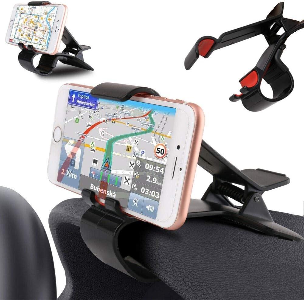 DFV mobile - Soporte de Pinza para Smartphone y GPS con Clip para Salpicadero de Coche para LG Spray 4G 402LG (2015) - Negra