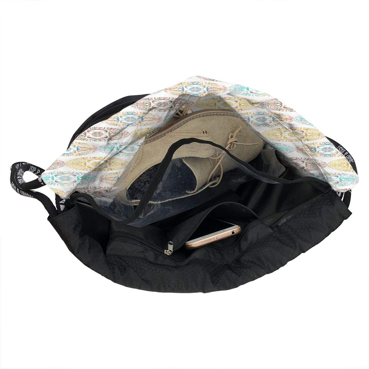 Sprudla All Ellipse Mix Drawstring Backpack Sports Athletic Gym Cinch Sack String Storage Bags for Hiking Travel Beach