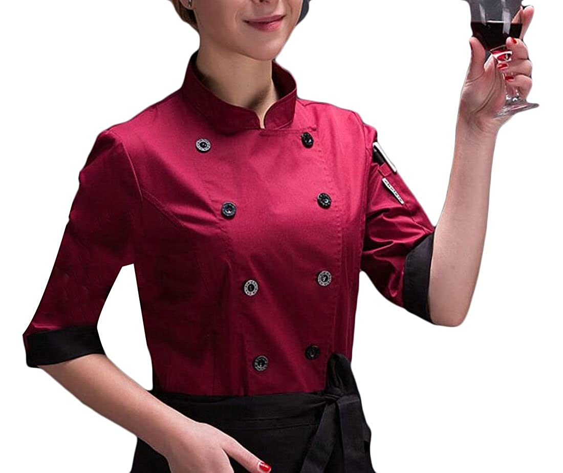 WSPLYSPJY Unisex Chef Coat Double Breasted Long Sleeve Chef Jacket