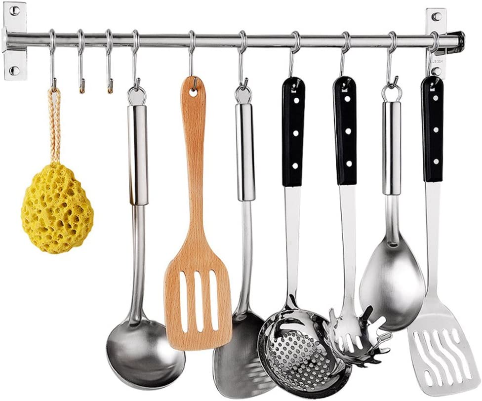 Kitchen Sliding Hooks, Stainless Steel Hanging Rack Rail Organize Kitchen  Tools with 10 Utensil Removable S Hooks for Towel, Pot Pan, Spoon, Coats,  ...