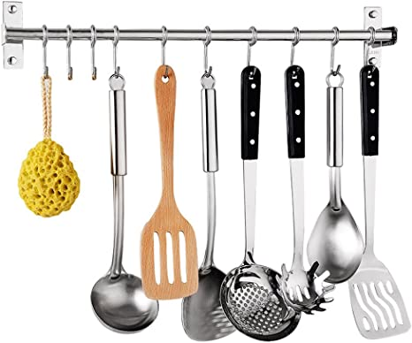 Kitchen Sliding Hooks BBQ,Wall Mounted Hanger Spoon Bathrobe Pot Pan Coats Stainless Steel Hanging Rack Rail Organize Kitchen Tools with 10 Utensil Removable S Hooks for Towel Kitchen Hanging Rod 23.6 inch Pot Pan Hanging Rack
