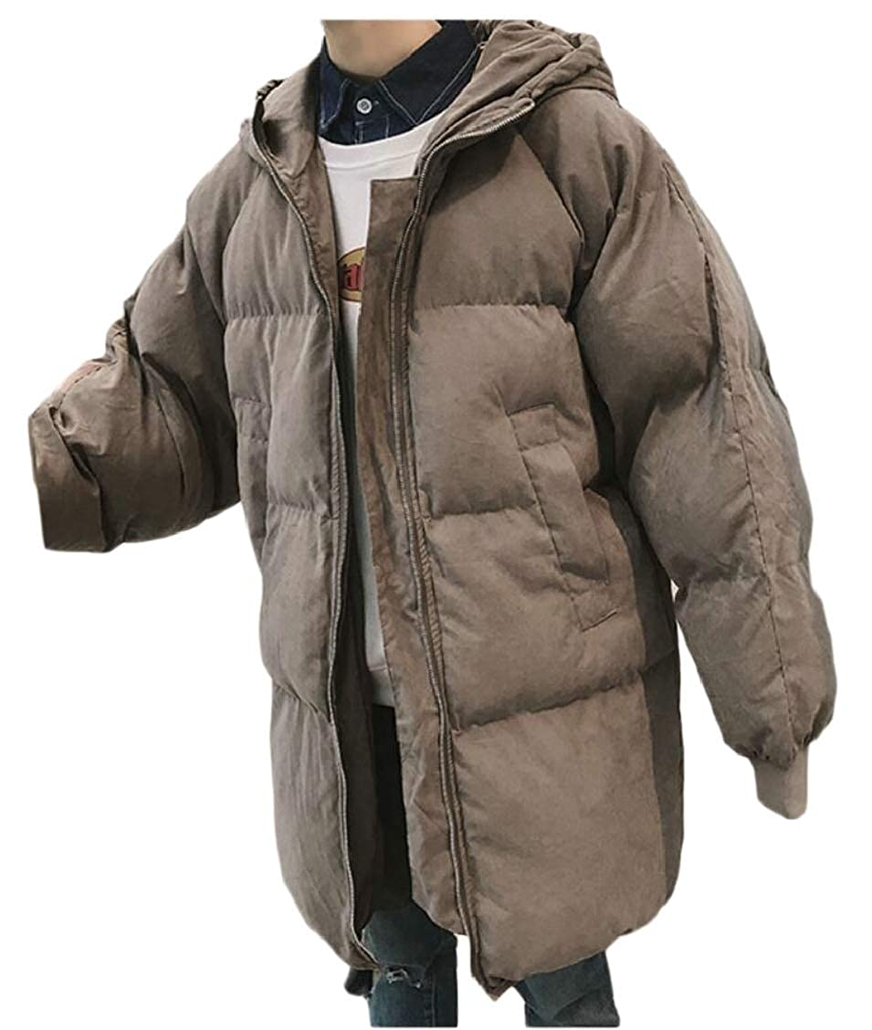 XQS Mens Front-Zip Winter Padded Warm Thick Loose Fit Down Jacket Coat