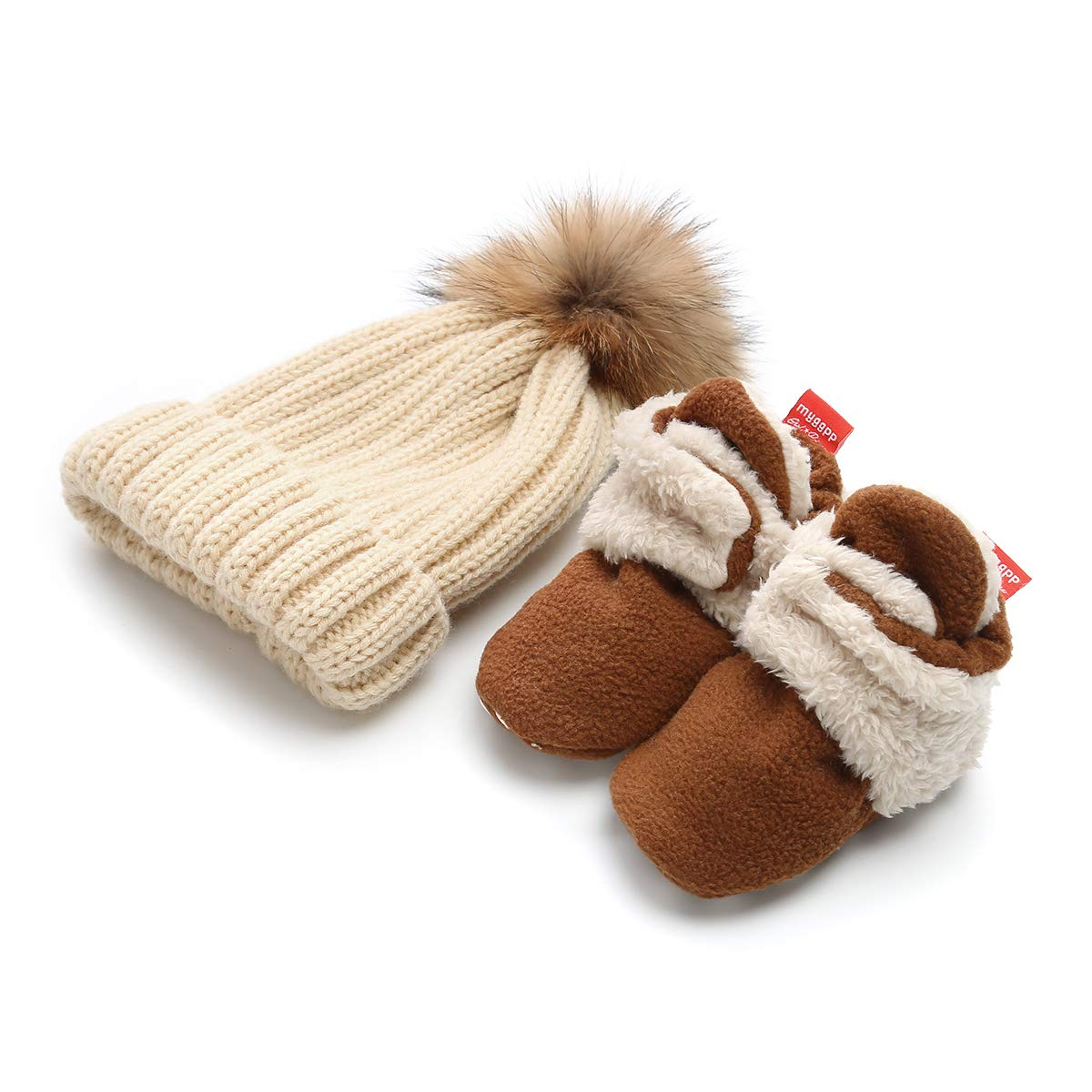 Isbasic Unisex Baby Cozy Fleece Lined Booties Non-Slip Infant Winter Warm Socks Shoes + Knit Pom Pom Hat (6-12 Months Brown)