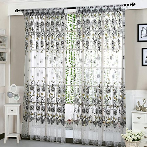 Clearance Home Deco Curtain! Paymenow 1 Panel Peony Sheer Curtain Tulle Window Treatment Voile Drape Valance for Living Room Bed Room (78.7'' X 39.3'', Gray)