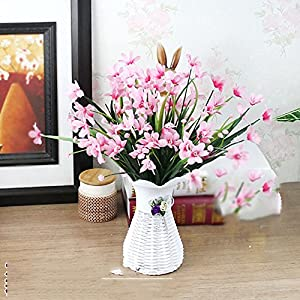 Situmi Artificial Fake Flowers Orchid Plastic Pot and Pink Narcissus Home Accessories 10