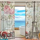 SEULIFE Window Sheer Curtain Vintage Paris Eiffel Tower Flower Butterfly Voile Curtain Drapes for Door Kitchen Living Room Bedroom 55x84 inches 2 Panels