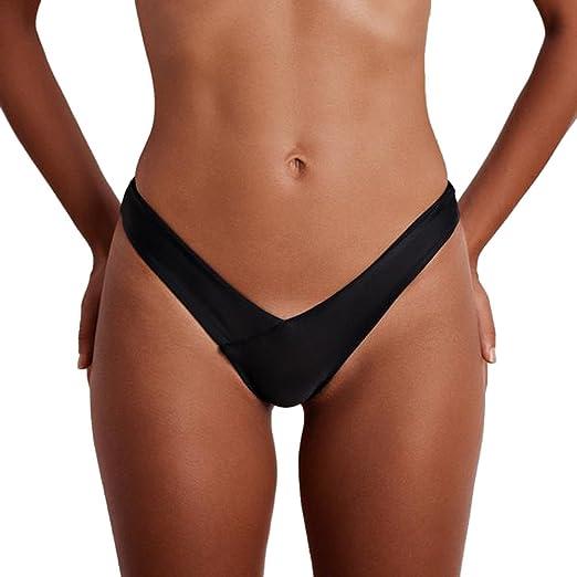 384ff8c7ef BSGSH Women s Sexy Hipster Brazilian Cheeky Thong Bikini Bottoms Summer  Solid Beachwear Swimwear (S