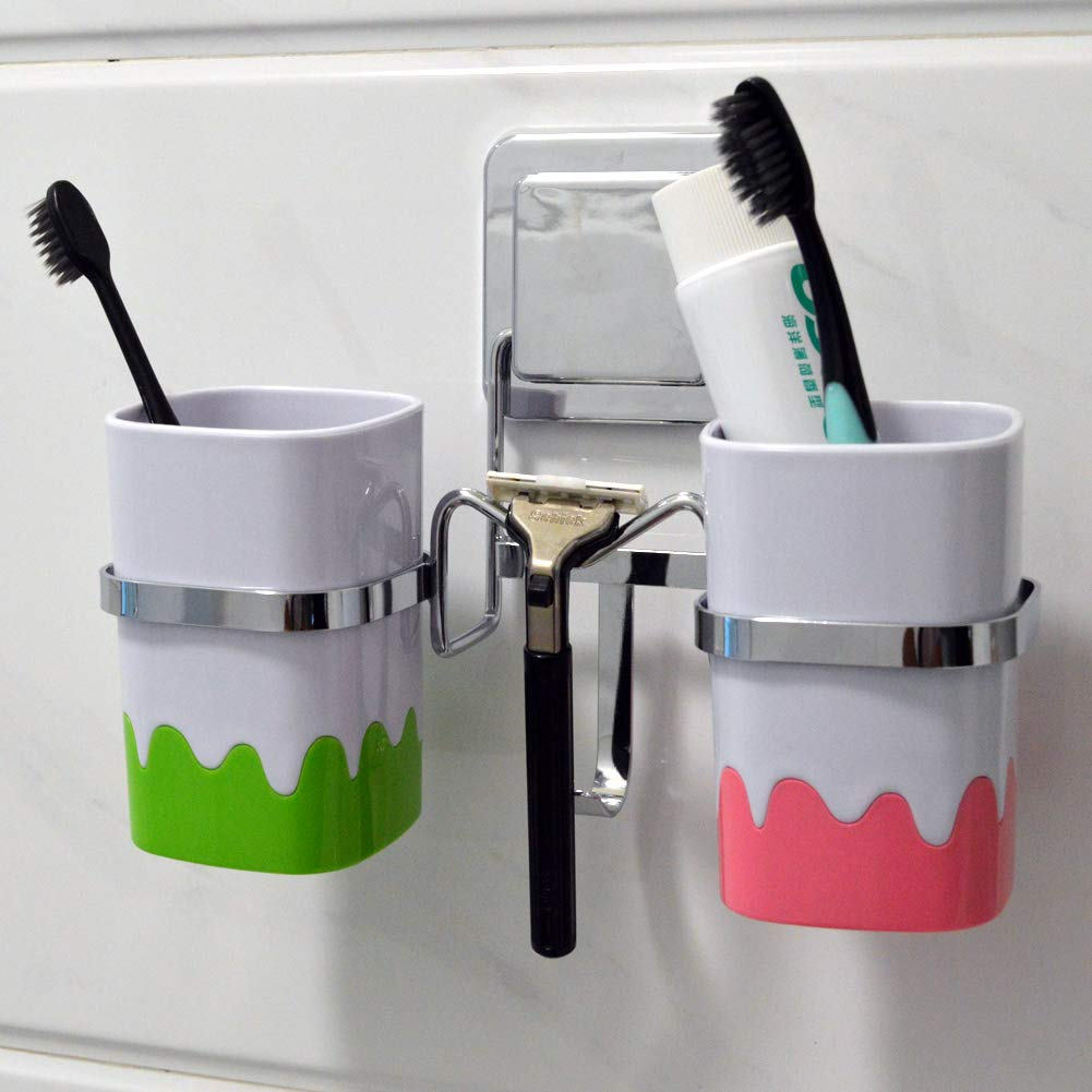 JiaChong Bathroom Stainless Steel Multi-Purpose Punch-Free Dental Gear Set Double Cup Holder-Recyclable Adhesive Pad