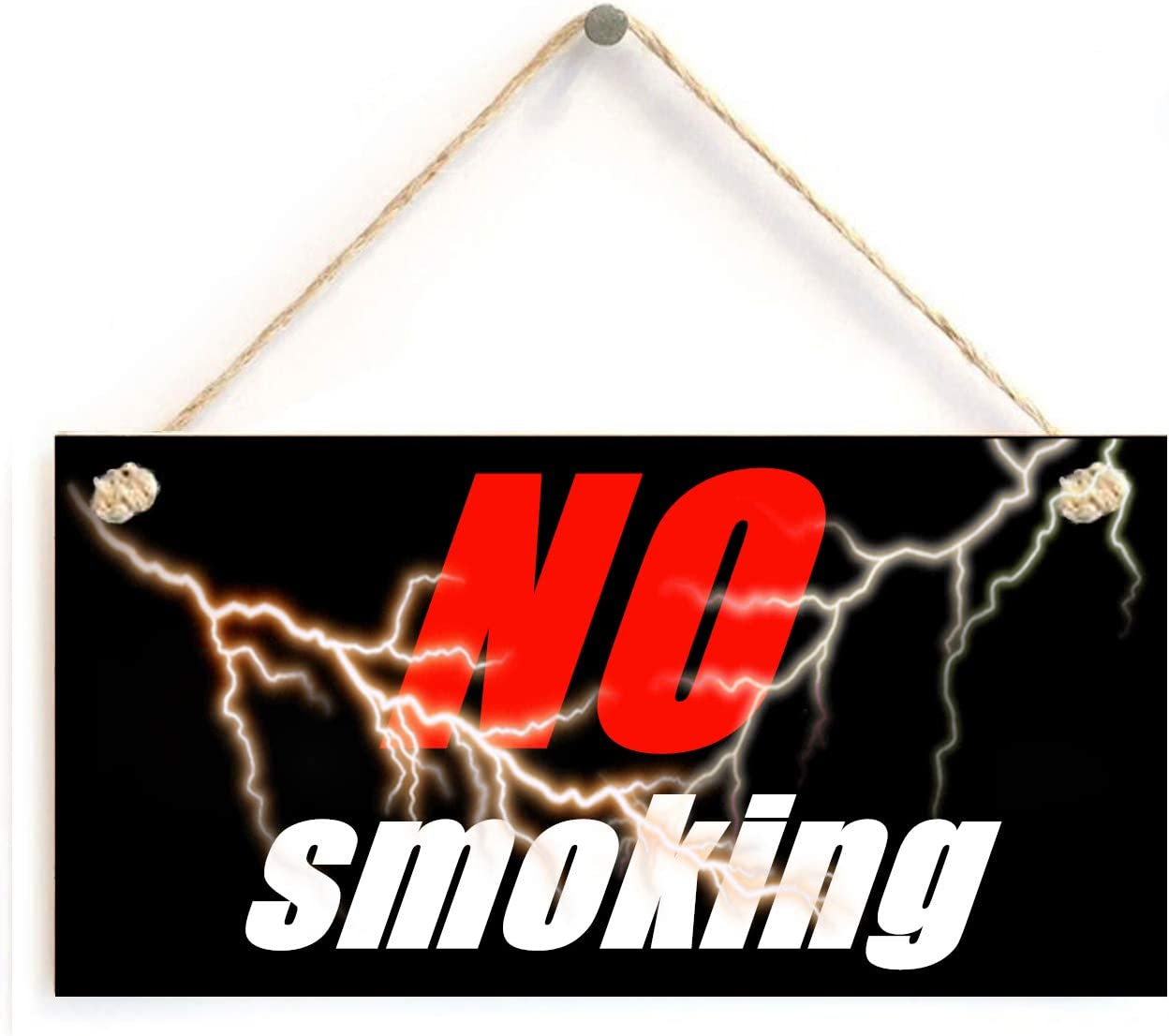 No Smoking Sign - 5 x 10 inch Hanging Funny Signs Decor, Wall Art, Decorative Wood Sign Home Decor, No Smoking Sign for House