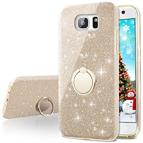 Galaxy S7 Case,Silverback Girls Bling Glitter Sparkle Cute Phone Case With 360 Rotating Ring Stand, Soft TPU Outer Cover + Hard PC Inner Shell Skin for Samsung Galaxy S7 -Gold